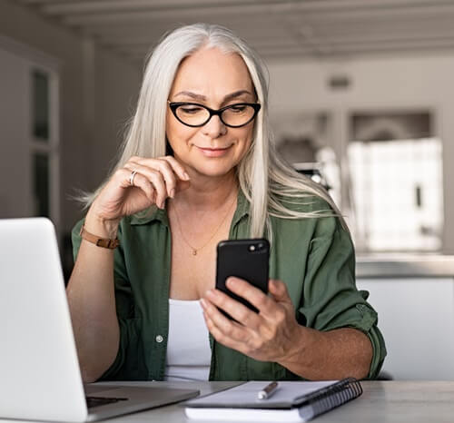 Woman looking at mobile